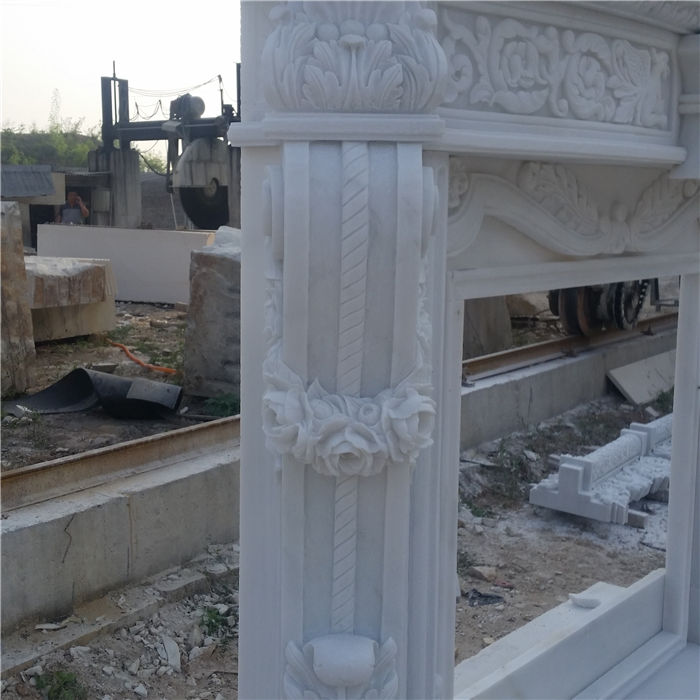 Pure White Marble Fireplace