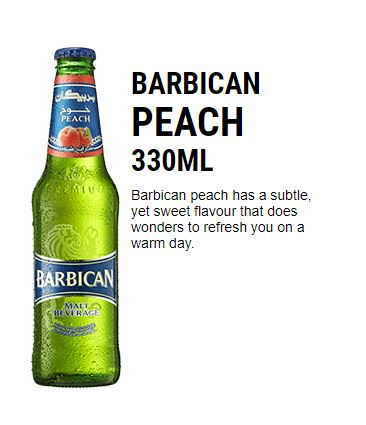 Barbican PEACH NON ALCOHOLIC DRINKS 330ML (Pack of 24)