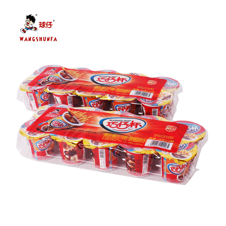 sweet best quality Chocolate flavour Cream confectioneru chocolate biscuit stick cup manufacture