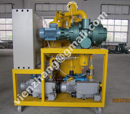 Used transformer oil recycling system, vacuum dehydration