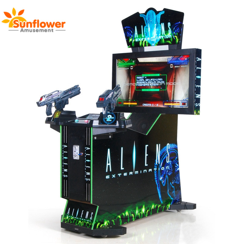 Coin operated video multi games machines,shooting game gun alien