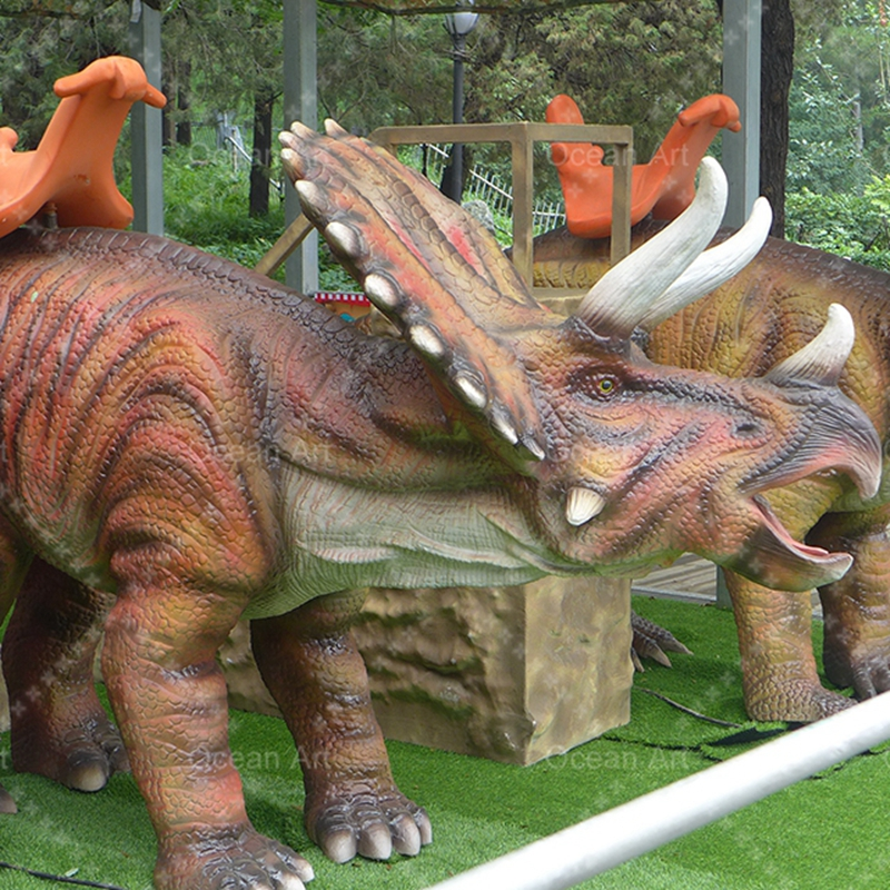 Artificial movable dinosaur skeleton rides mounts