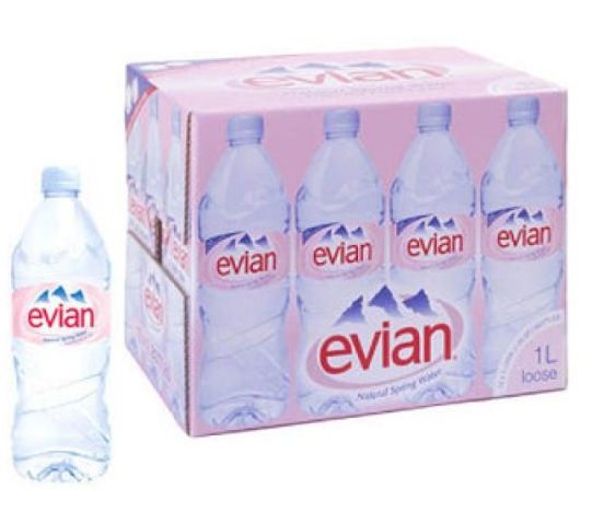 Evian mineral water 33cl, 50cl & 1.5ltr