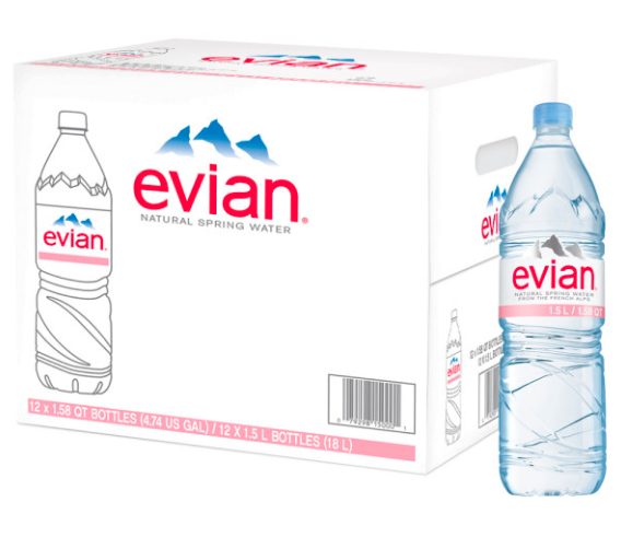 Evian Mineral Water available in all sizes