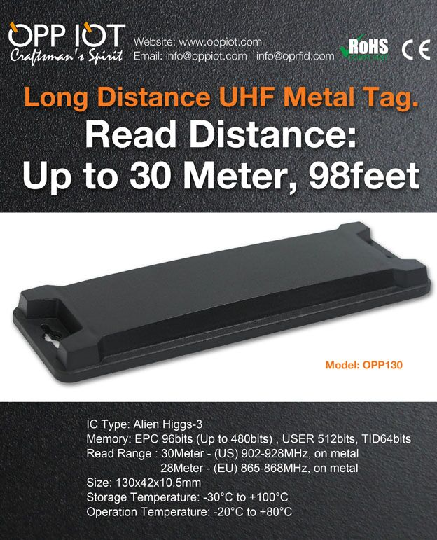 Long reading range up to 30 meters - UHF RFID tag OPP130