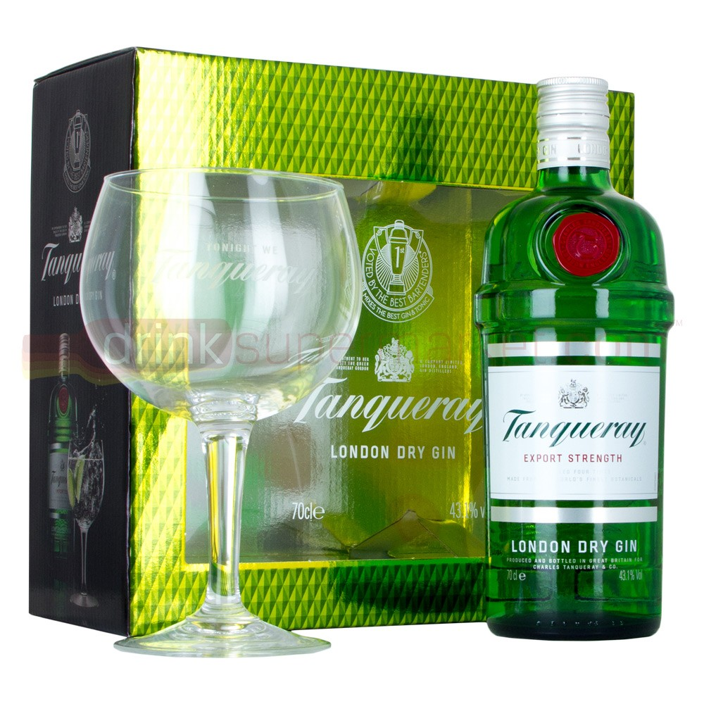Buy Tanqueray Export Strength Gin 70cl & Gin Copa Glass Gift Pack 700ml / 43.1%