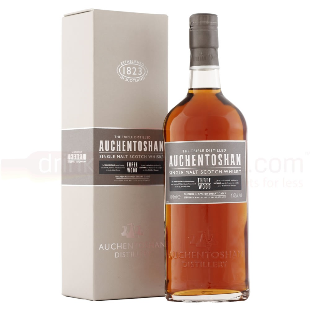 Buy Auchentoshan Three Wood Whisky 70cl Lowland Single Malt Scotch Whisky 700ml / 43%