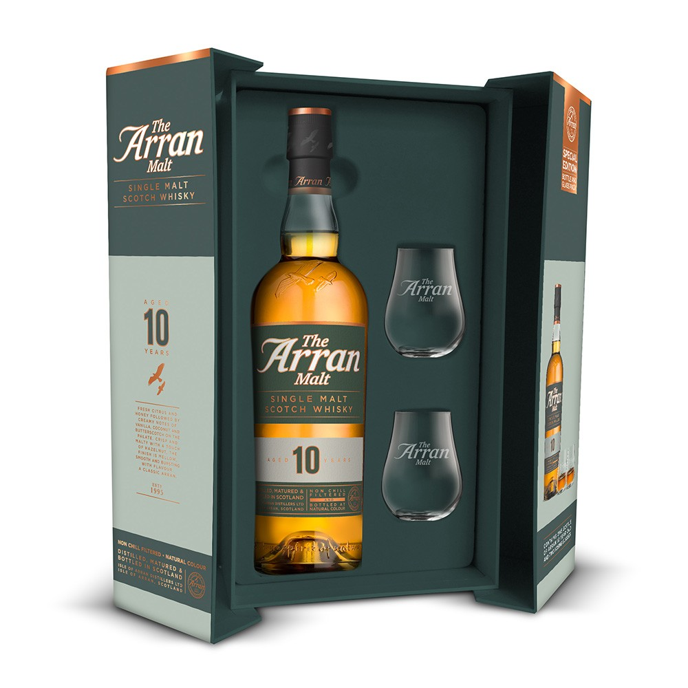 Buy Arran 10 Year Whisky Gift Set With 2 Glasses 70cl 700ml / 46%