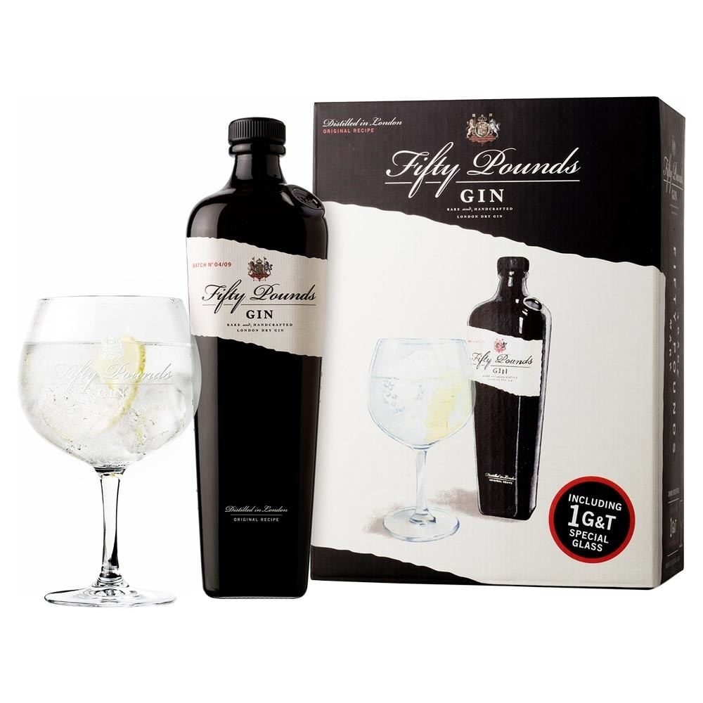 Fifty Pounds Gin 70cl Glass Gift Set 700ml / 43.5%