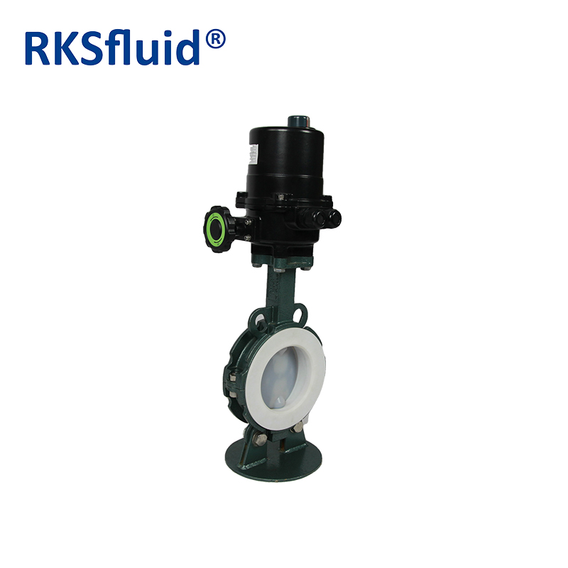 PFA electric actuator Butterfly valve with PTFE seat •	Series: GRIFFIN series PTFE coated butterfly valve •	Port size: DN50-DN300 (NPS2-NPS12) •	Pressure: PN6, PN10, (Class 150) •	Body: ductile iron,