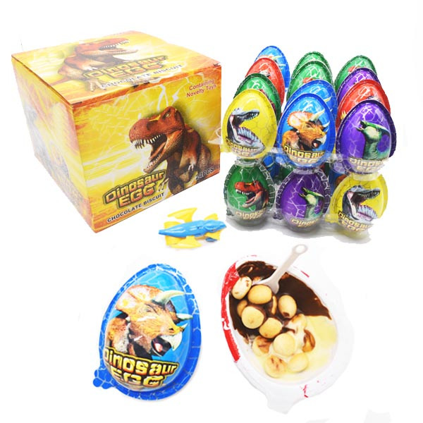 Dinasour Egg Toy with chocolate biscuit