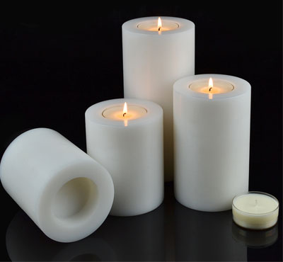 Plastic Modern White Artificial Tealight Candle Holder