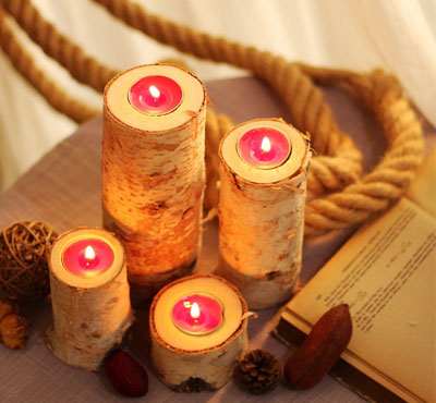 Birch Wooden Tealight Candle Holders