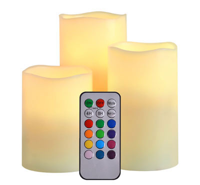 Color Changing Flameless Led Candles Set Of 3 Real Wax With 18 Keys Remote For Christmas Birthday home Decoration Gift