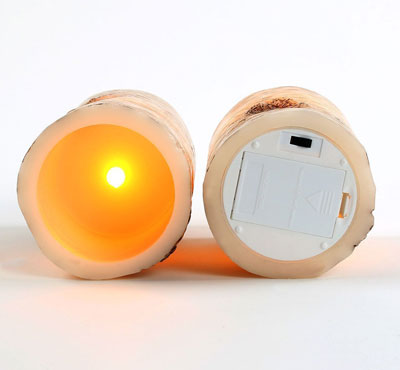 Remote Ready Amazing Flameless Candle Birch Bark Triple Timer