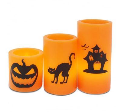 Real Wax Holiday Decor Yellow Flickering Led Candle/Halloween Led Candle With Printing