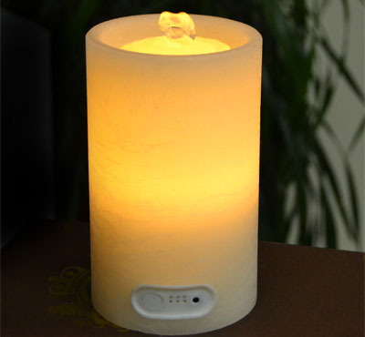 Flat Top Flameless Candle Fountain With Timer Button