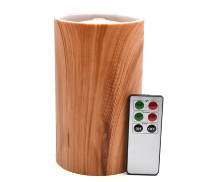 Plastic Imitation Wooden Flameless Candle Fountain With Lithium Battery