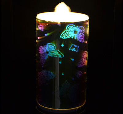 Rechargeable 3D Glass Butterfly Flameless LED Candle Fountain