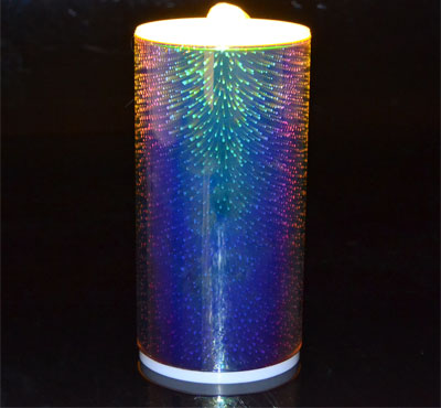 3D Glass Fireworks Flameless Candle Fountain With Lithium Battery