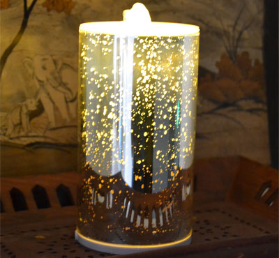 3D Glass Spot Flameless Candle Fountain With Lithium Battery