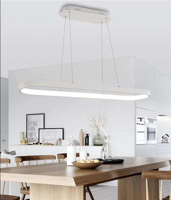 Rectangular restaurant modern aluminium white oval pendant light fixture