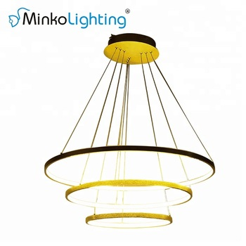 2700lm Round Fancy Chandelier Decorative Big Circle Gold Led Ring Pendant Light 48