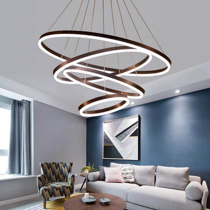 Modern aluminium acrylic gel black LED 24 inch circle ring pendant