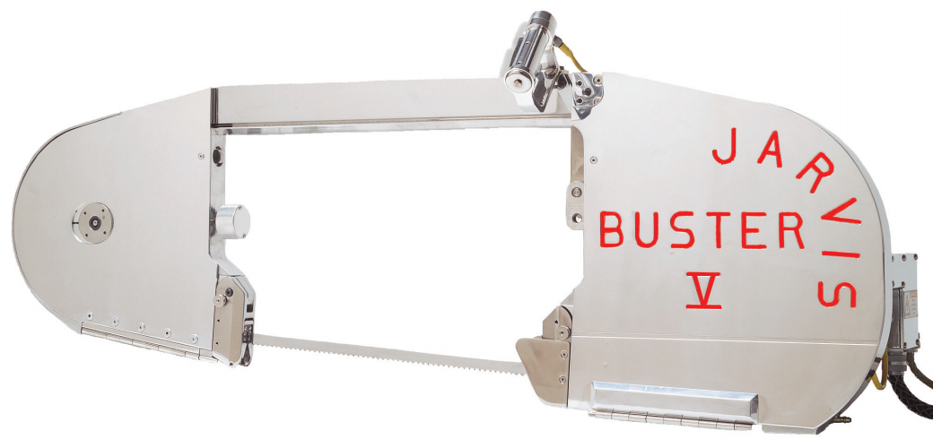 The Jarvis Model Buster V - electrically powered bandsaw for splitting bulls, cows and horses.