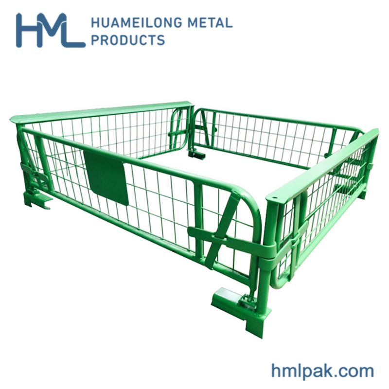 Warehouse stackable foldable metal euro storage rigid welded wire cage pallet