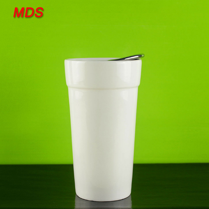 Creative gift white double wall porcelain cup with lid suit