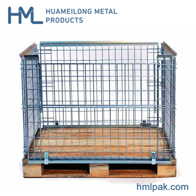Foldable stackable collapsible storage galvanized steel cages pallets for sale