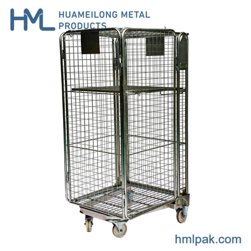 4 sided security foldable industrial nesting pallet rolltainer trolley for sale