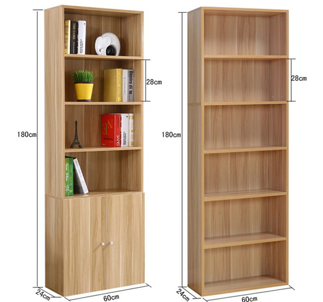 customize size design wood bookcase with melamine finish