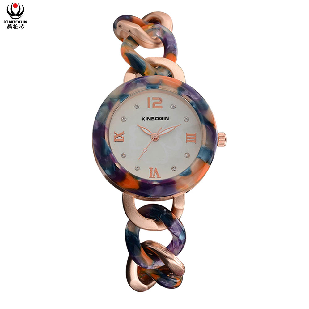 XINBOQIN Manufacturer Custom LOGO OEM Womens Brand Luxury Tide Quartz Waterproof Acetate Watch