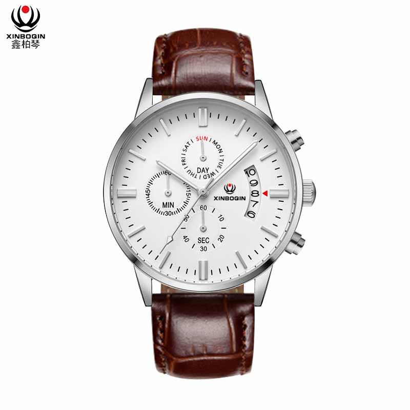 XINBOQIN Manufacturer Custom Luxury Men Tide Fashion Luxury Quartz Stainless Steel Waterproof Watch