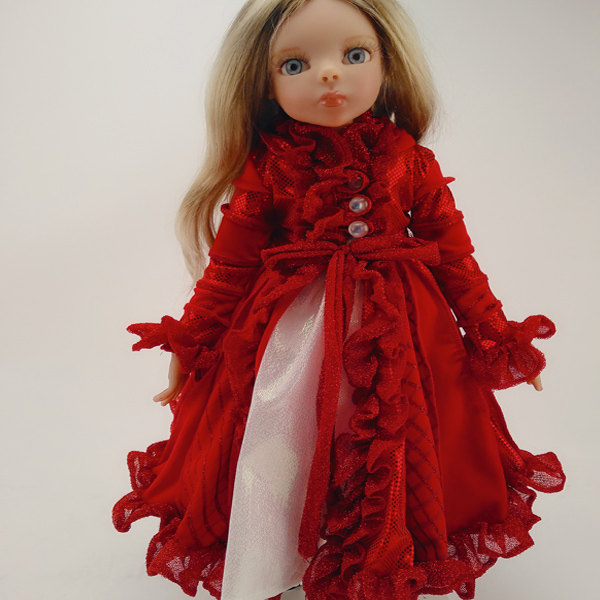 Frida cute red long sleeve one-piece dress in doll accessories
