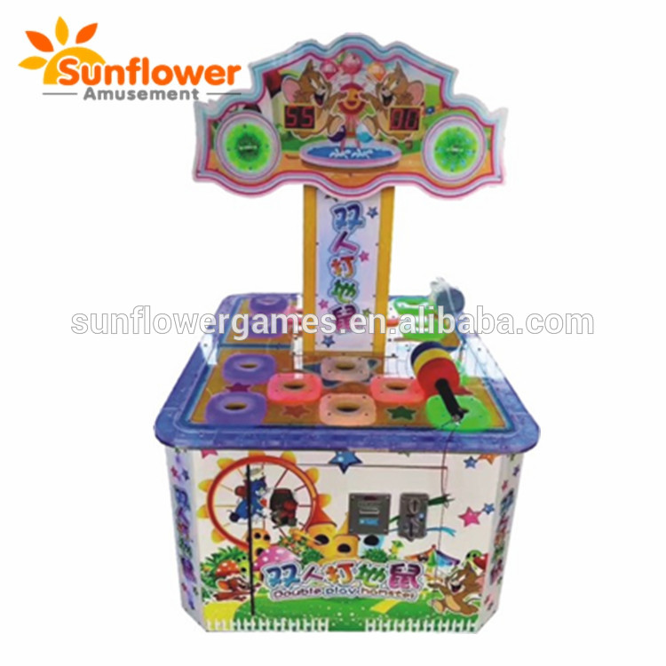 Newest 2 Players kids mouse hammer hitting coin operated ticket redemption hit frog game machine factory