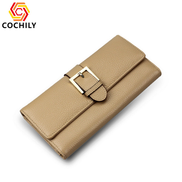 Portable reusable waterproof genuine leather wallet OEM