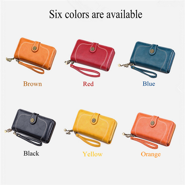 Customized oil wax leather card bag long zipper women wallet three fold wallet