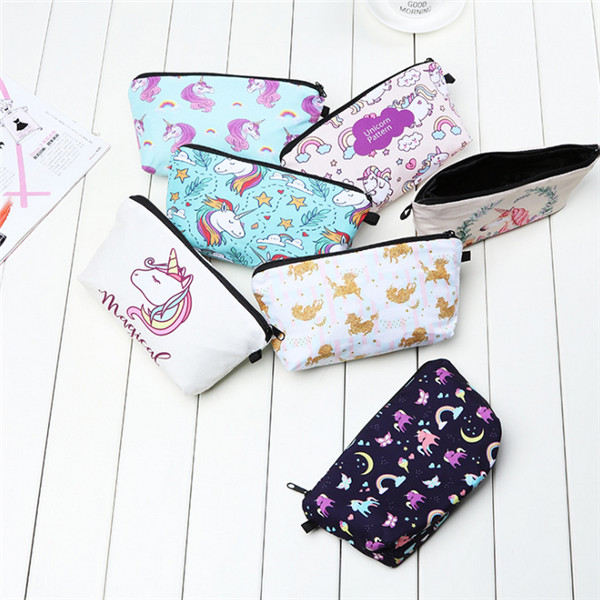 Cheap wholesale beautiful printing clutch makeup bag for lady cosmetics