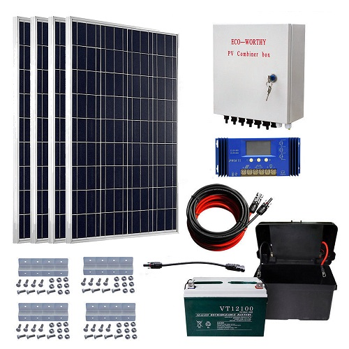ECO-WORTHY 400W off Grid Solar Kit: 4pcs 100W Solar Panels & Combiner Box & 60A Solar Controller &100aH 12V battery RV