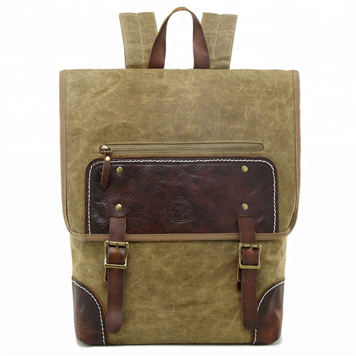 2019 Hot Sale Vintage Outdoor Leisure Man Travel Waxed Canvas Backpack