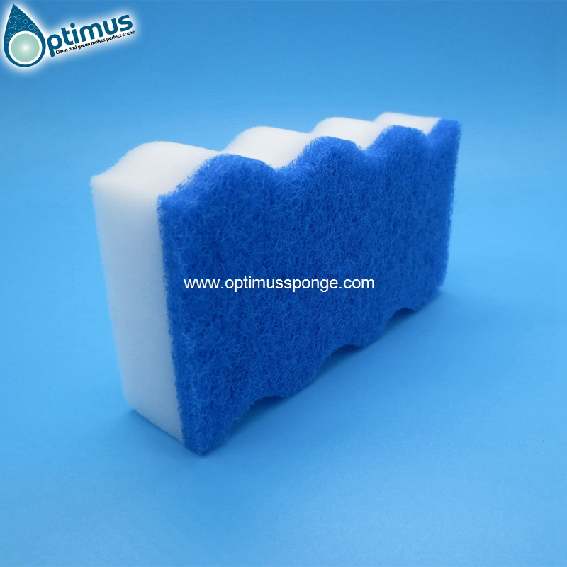 wave shaped sponge white kitchen cleaning sponge with blue nylong scouring pad