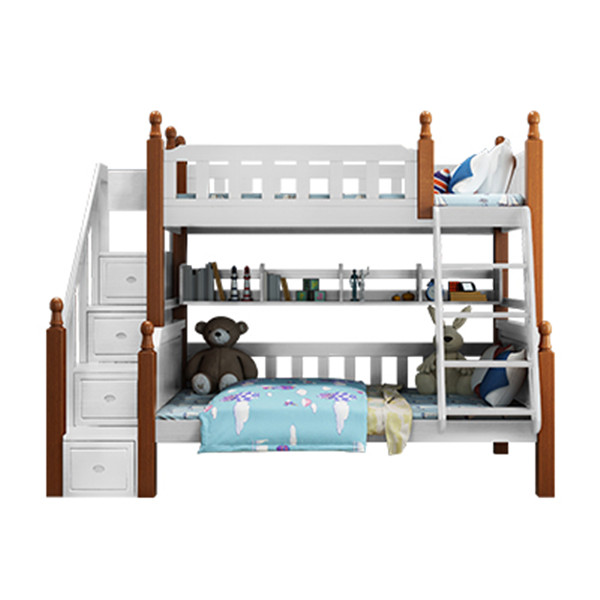 A01 wood material cabinet stair bunk bed for children