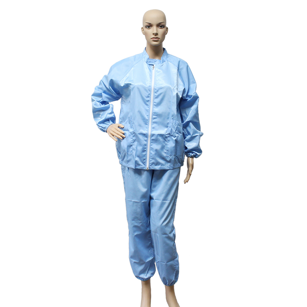 Antistatic Customize Polyester Cotton Material Esd Jacket Blue Grid Fabric ESD Smock Coverall With Button Zipper for Cleanroom Working