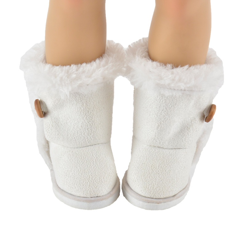 18 inch American girl doll accessory, white snow boots with botton bjd doll shoes