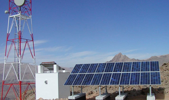 Solar ground mounting system for solar off-grid telecom station