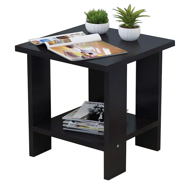 home cheap Simplistic Black Square Wooden End Side Table with Stroage Shelf