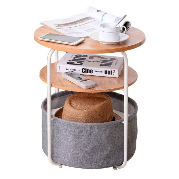 new arrival  factory prcie 3-Tier Round Storage Side Table with Fabric Storage Basket wholesale